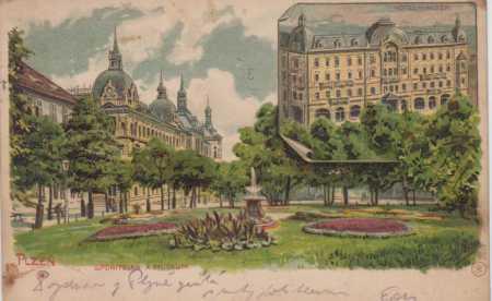Plzeň, spořitelna a muzeum, barevná kresba, DA