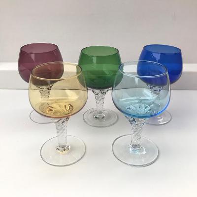 Vintage barevné skleničky likérky - 5 ks