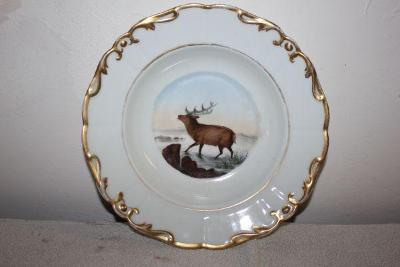 porcelánový talíř s jelenem,znač.Dalovice