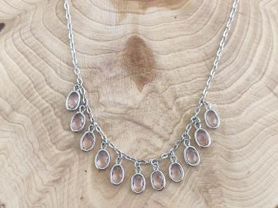 Stříbrný náhrdelník (AG 925/1000) se syntetickým turmalínem a zirkony