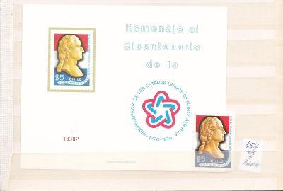 Jižní Amerika-Chile blok/30 Mi€/+ známka-svěží+soubor známek