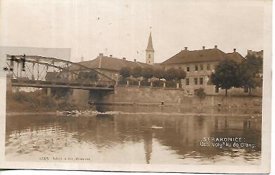 Strakonice, železný most přes Otavu, nákl. G. Klas
