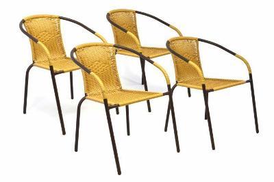Sada 4 kusů zahradních židlí s výpletem - bé 35123