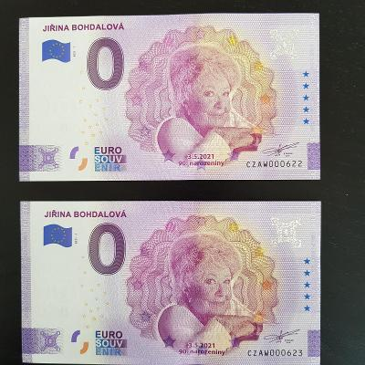 0 Euro Souvenir bankovky JIŘINA BOHDALOVÁ číslo  622 a 623