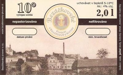 PE pivovar: Bezděkov  10 (samolepka nepoužitá) poslední kus