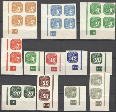 ** PROTEKTORÁT ČaM  - 1943 - Novinové - NV 10-18 - 12 x D.č. s rámem
