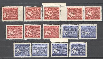 ** PROTEKTORÁT ČaM  - 1939 - DOPLATNÍ - DL 1-14 - 14 ks svěžích známek