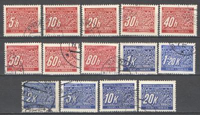 PROTEKTORÁT ČaM  - 1939 - DOPLATNÍ - DL 1-14 - 14 ks ražených známek
