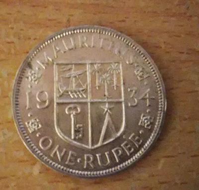 One Rupee Mauricius 1934 Ag UNC