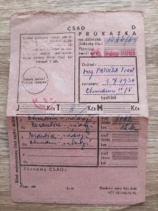 ČSAD PRŮKAZKA - rok 1979 Chrudim - Prachovice