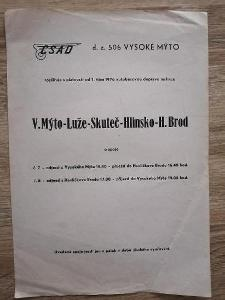 VÝLEPOVÝ DODATEK ČSAD - 1976 - Vysoké Mýto Luže Skuteč Hlinsko H. Brod