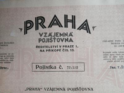 PRAHA vzájemní pojištovna Pojistka z r. 1934
