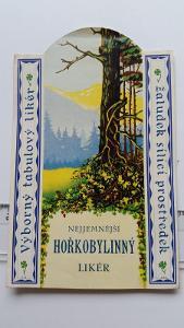 etiketa likér Hořkobylinný