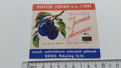 etiketa likér slivovice Brno