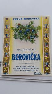 etiketa likér Moravská Borovička
