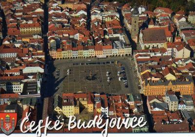město České Budějovice - letecký pohled na centrum, erb