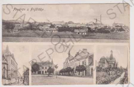 Fryšták - celkový pohled, náměstí, vila, Zlín