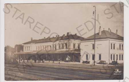 Louny - nádraží, vlak, slepotisk Růžička