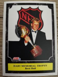 Karta Score 91-92 č. 318 Brett Hull Hart Trophy
