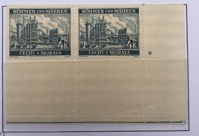 Protektorát 1939 Krajiny,hrady,města I. pof.37I rohový čtyřblok 2+2dz*