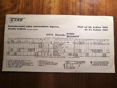 VÝLEPOVÝ JÍZDNÍ ŘÁD ČSAD - 1968/69 - Choceň - Koldín - Skořenice