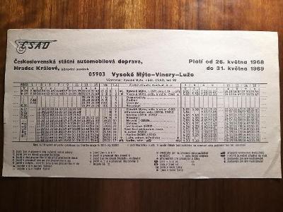 VÝLEPOVÝ JÍZDNÍ ŘÁD ČSAD - 1968/69 - Vysoké Mýto - Vinary - Luže