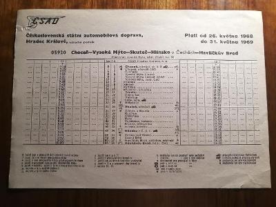 VÝLEPOVÝ JÍZDNÍ ŘÁD ČSAD - 1968/69 Choceň V Mýto Skuteč Hlinsko H Brod