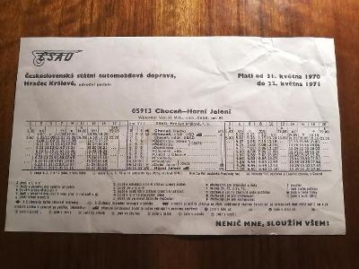 VÝLEPOVÝ JÍZDNÍ ŘÁD ČSAD - 1970/71 - Choceň - Horní Jelení - 05913