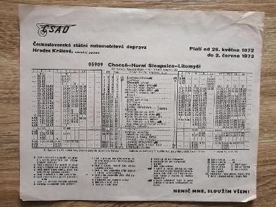 VÝLEPOVÝ JÍZDNÍ ŘÁD ČSAD - 1972/73 - Choceň - Horní Sloupnice Litomyšl