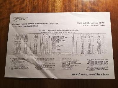 VÝLEPOVÝ JÍZDNÍ ŘÁD ČSAD - 1977/78 - Vysoké Mýto - Pěšice - Luže 59120