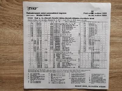 VÝLEPOVÝ JÍZDNÍ ŘÁD ČSAD - 1989/90 - Ústí Choceň V M Skuteč Hlinsko HB