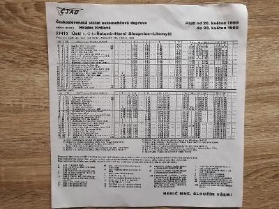 VÝLEPOVÝ JÍZDNÍ ŘÁD ČSAD - 1989/90 - Ústí Řetová H. Sloupnice Litomyšl