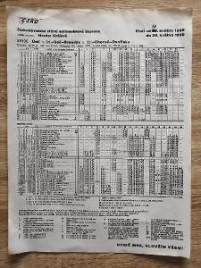 VÝLEPOVÝ JÍZDNÍ ŘÁD ČSAD - 1989/90 - Ústí Seč Choceň Brandýs Dvořisko