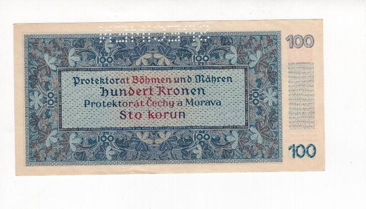 100 K - 1940 - PROTEKTORÁT - perforovaná - Série 11 B - 1. vydání - 0 - Bankovky