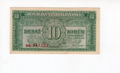 10 Kčs 1950 - NEPERFOROVANÁ - Série Hb