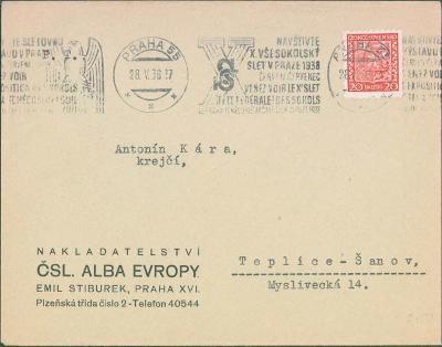 10B356 Strojové razítko X. všesokolský slet v Praze 1938, Praha
