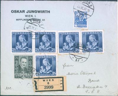 13B167 firemní R-dopis, Oskar Jungwirt, Wien/ Brno-dekorativní