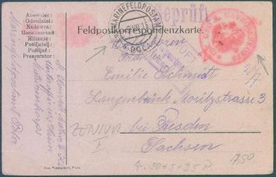 13B171 Lodní pošta- K.u.K. MATROSEN KORPS, cenzury POLA/ Drážďny