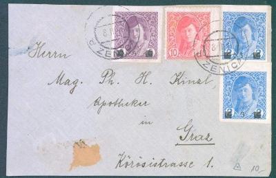 13B175 Pouze přední strana dopisu- ZENICA,smíšená frankatura- zajímavé
