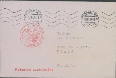 10B2721 Sekretariát nám. předsedy vlády Dr. V. Škody - Plzeň mimořádné