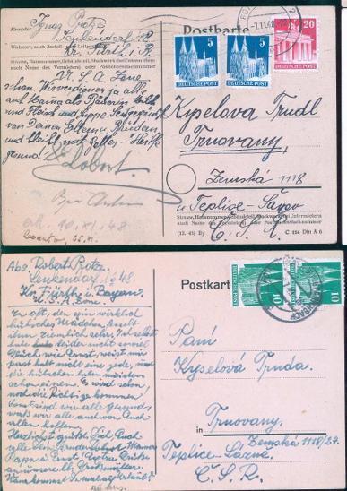 14B493 Dofrankované dva lístky- TRNOVANY/ Deutsches Reich