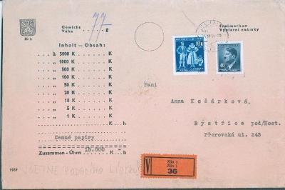 12B18 Peněžní dopis vč. podacího lístku, známka 10K na dopise vzácná
