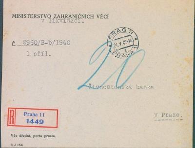 12B39 Ministerstvo zahraničních věcí v likvidaci, vzadu zálepka RR