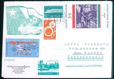 17B553 Dopis Bulharsko - Bor u Tachova, zálepka esperanto, dekorativní