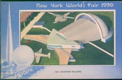 20B150 New York World´s fair 1939, plán letišťní budovy stroj. razítko