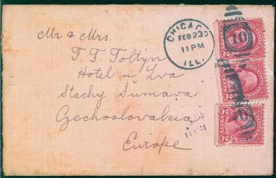 20B155 Dopis Chicago - Stachy na Šumavě