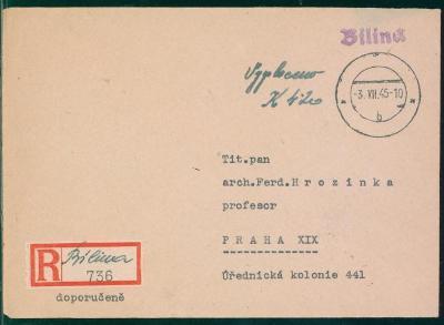 11B201 Provizorium Bílina, vyplaceno na poště