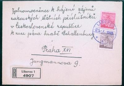 11B22 Rarita - Liberec, hrabě Schallenburg, zmocněnec Rakušanů v ČR