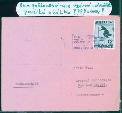 13B584 Rakouská dvakrát použitá obálka, vzácné