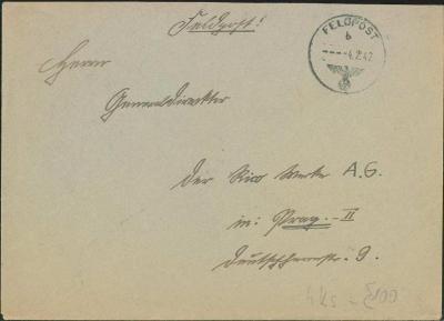 14B571 Dopis polní pošty  do Prahy